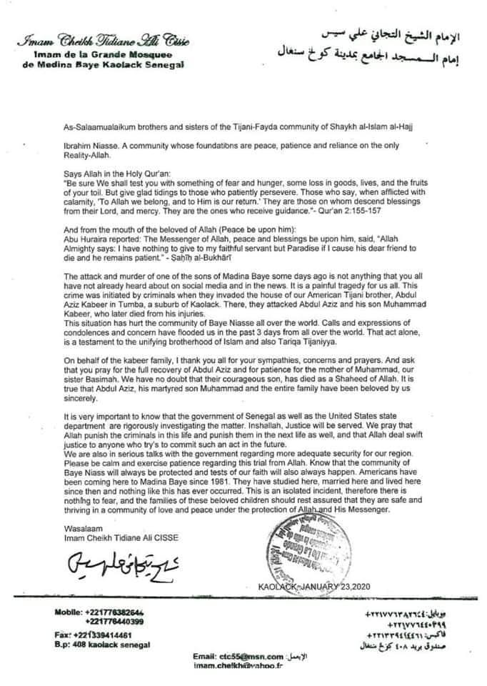 Après le décès de Mohamed Cissé : La lettre de condoléances de l'Imam de la grande mosquée de Médina Baye à la communauté islamique et surtout aux talibés américains.