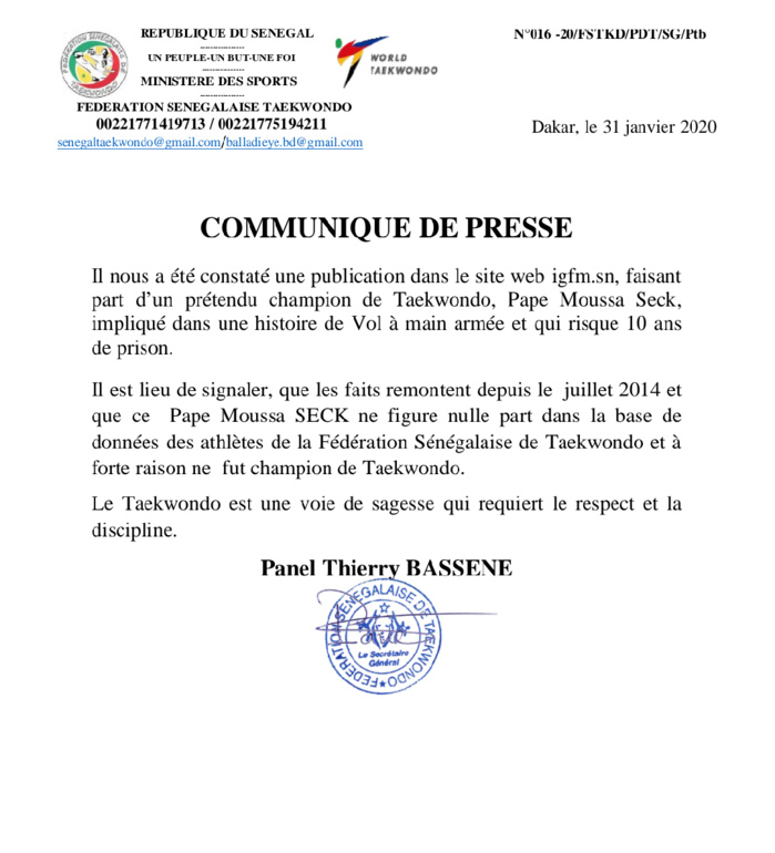 """Taekwondo : La fédération """"rejette"""" le soi-disant champion, Pape Moussa Seck, impliqué dans une affaire de vol à main armée (Document)"""
