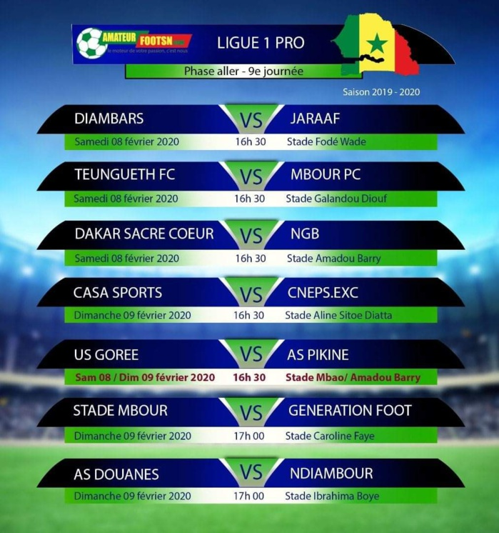 Ligue 1 Sénégalaise : Les chocs à l'affiche de la 9ème journée…