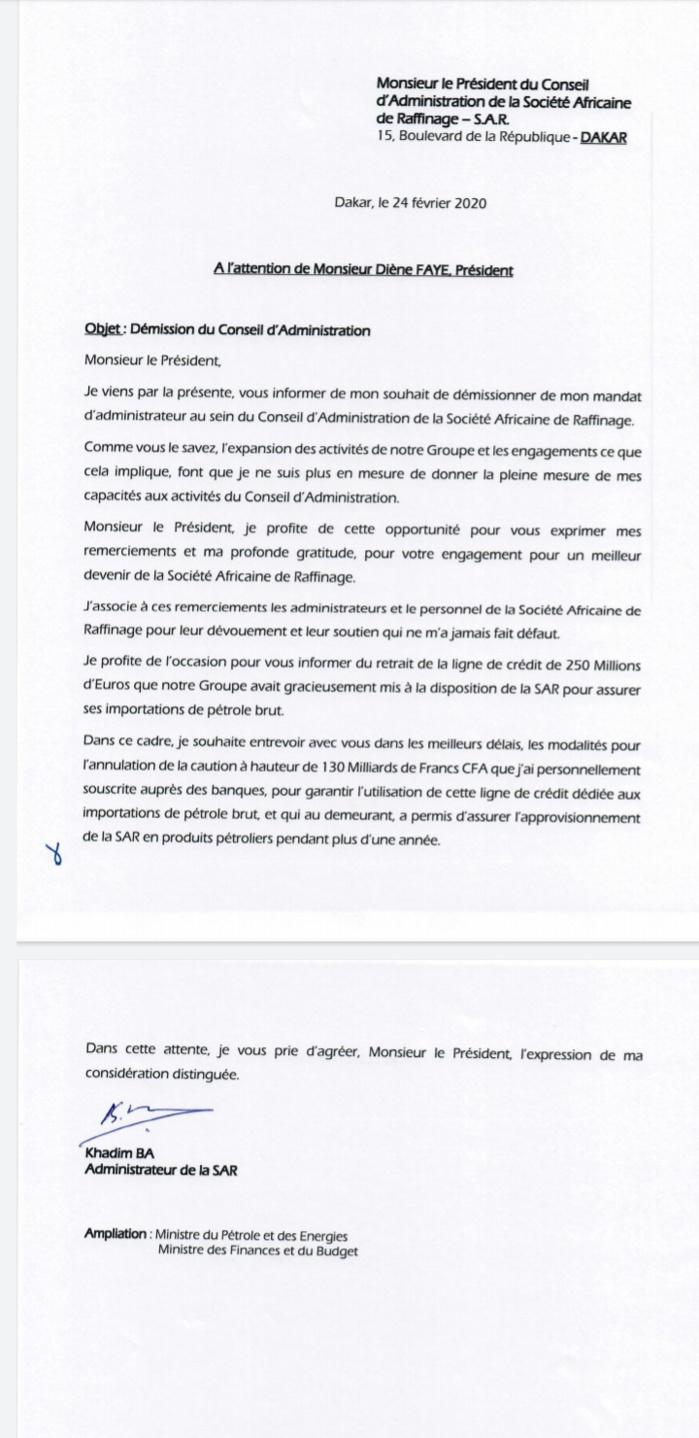 COUP DE TONNERRE / Khadim Bâ démissionne du CA de la SAR et retire sa couverture financière. Jusqu'à quel niveau la survie de la Société est-elle menacée ?