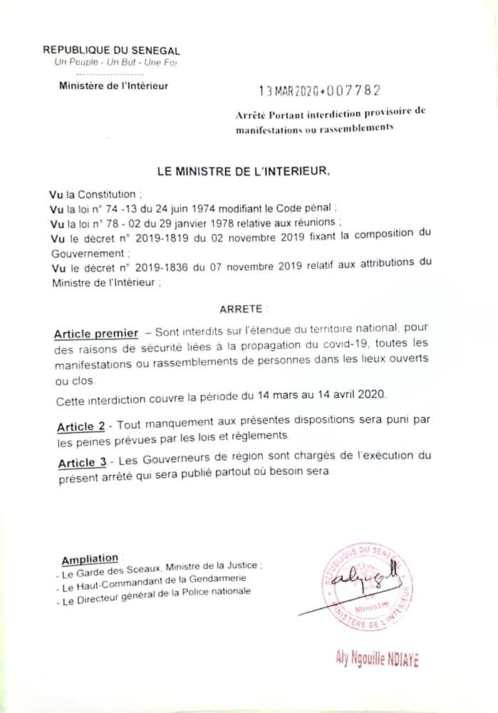 Interdiction de rassemblement dans le territoire national : Les précisions de Aly Ngouille Ndiaye, ministre de l'Intérieur. (DOCUMENT)