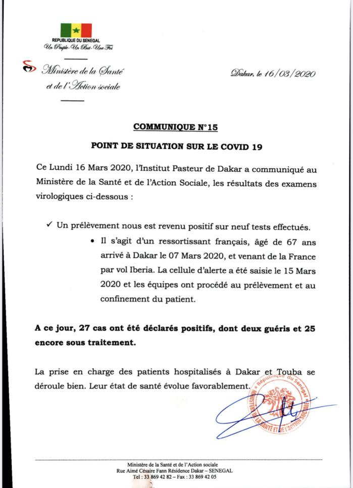 Institut Pasteur : Un nouveau cas testé positif au coronavirus.