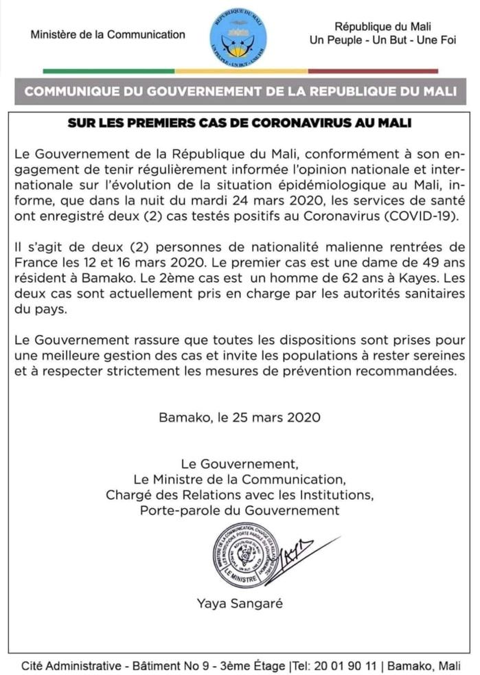 COVID-19 : Le Mali enregistre ses deux premiers cas. (DOCUMENT)