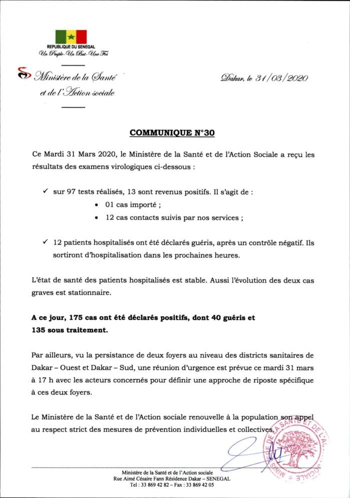 Institut Pasteur : 13 nouveaux cas testés positifs au coronavirus, 12 nouveaux guéris.