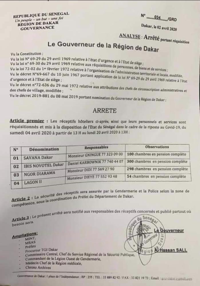 COVID-19 : Les hôtels Savana, Novotel, Ngor Diarama et Lagon II réquisitionnés pour les cas contact. (DOCUMENT)