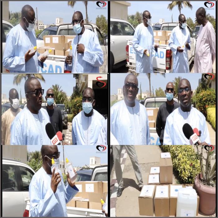 COVID-19 : Cheikh Oumar Hanne remet le don du monde universitaire au ministre de la Santé et de l'Action Sociale.