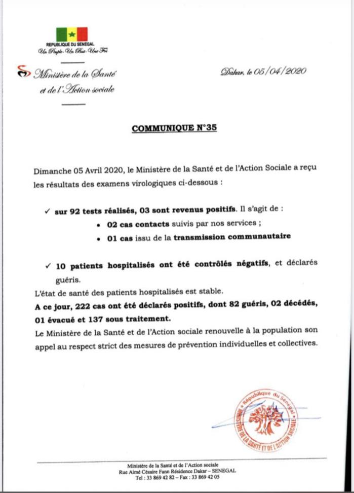 Institut Pasteur : 3 nouveaux cas testés positifs au coronavirus, 10 nouveaux guéris.