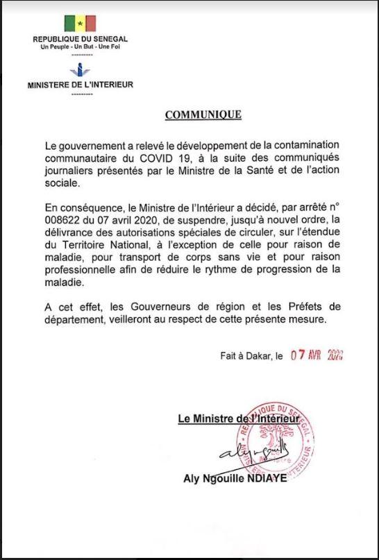 Covid-19 : Suspension de la délivrance des autorisations spéciales de circuler