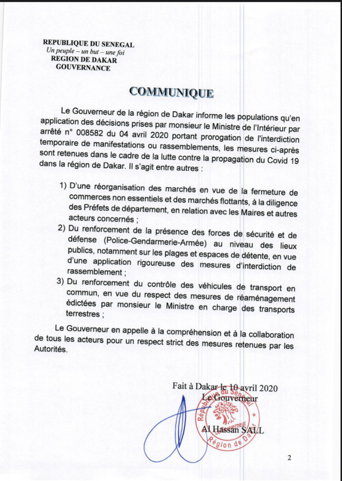 COVID-19 / DAKAR : Le Gouverneur décide de la «réorganisation des marchés en vue de la fermeture des commerces non essentiels» (DOCUMENT)