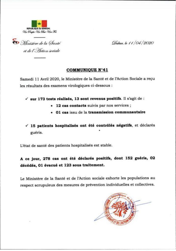 Institut Pasteur : 13 nouveaux cas testés positifs au coronavirus, 15 nouveaux guéris.
