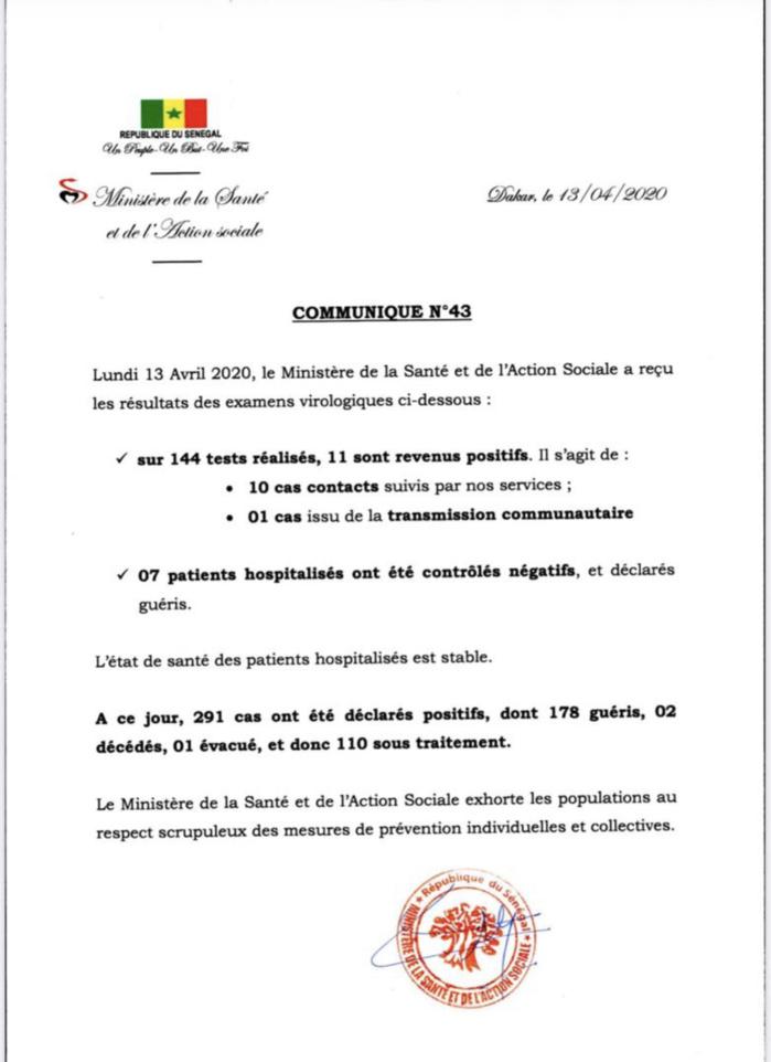 Institut Pasteur : 11 nouveaux cas testés positifs au coronavirus, 7 nouveaux guéris.