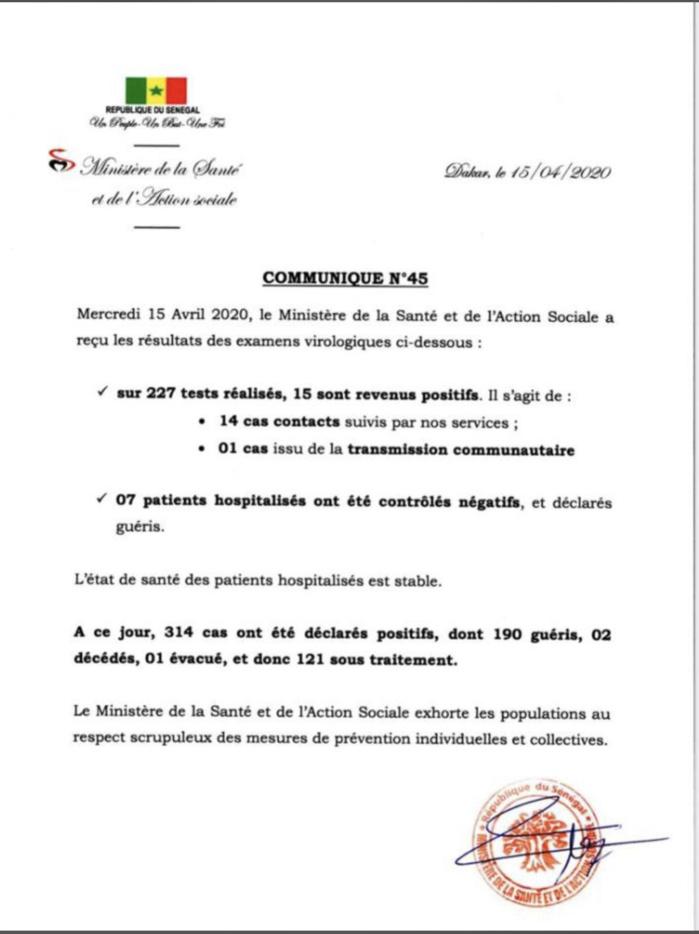 Institut Pasteur : 15 nouveaux cas testés positifs au coronavirus, 7 nouveaux guéris.