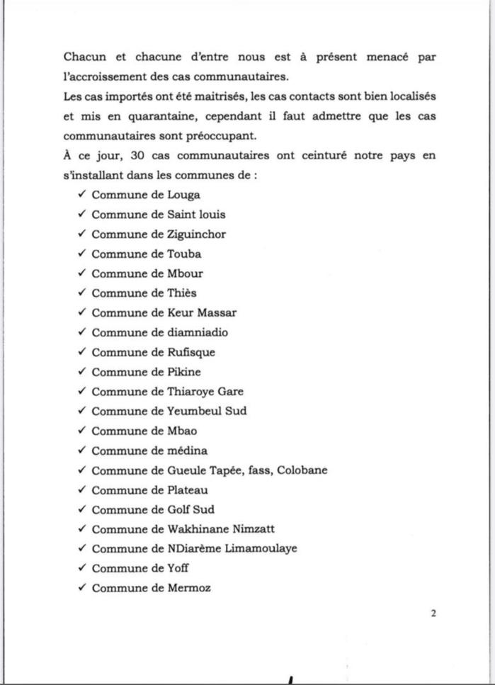 COVID-19 : Voici les communes touchées par les cas issus de la transmission communautaire (Document ministère de la Santé)