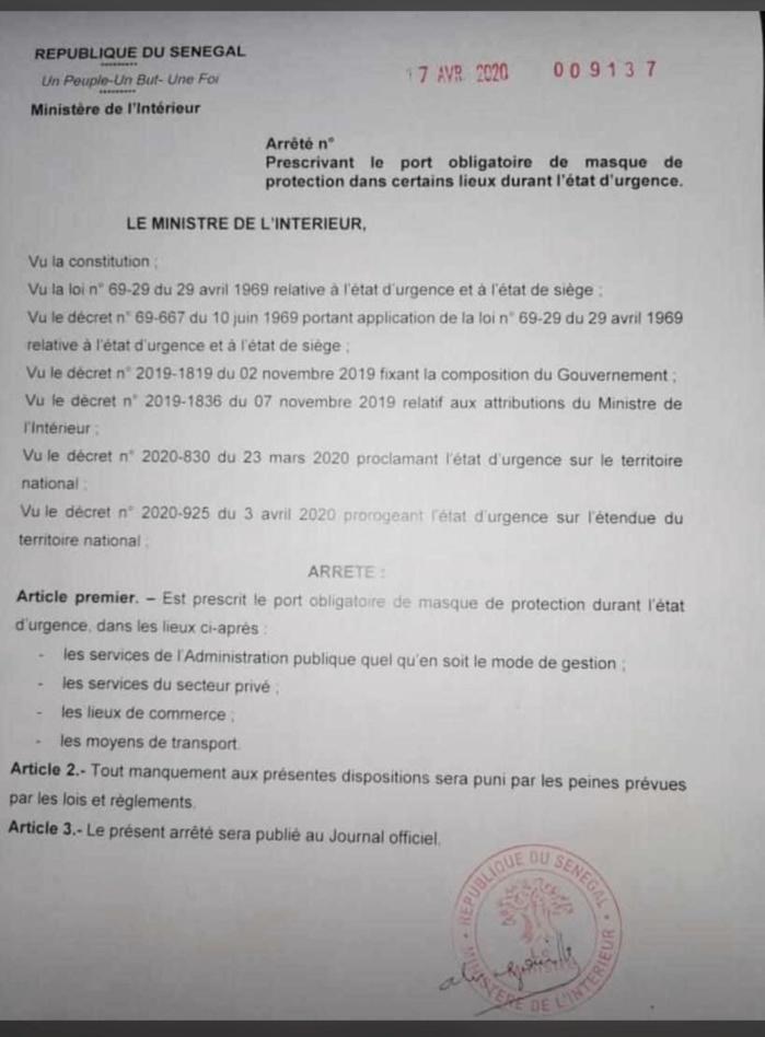 COVID-19 AU SÉNÉGAL : Le Gouvernement impose le port obligatoire de masque dans certains lieux durant l'état d'urgence. (DOCUMENT)