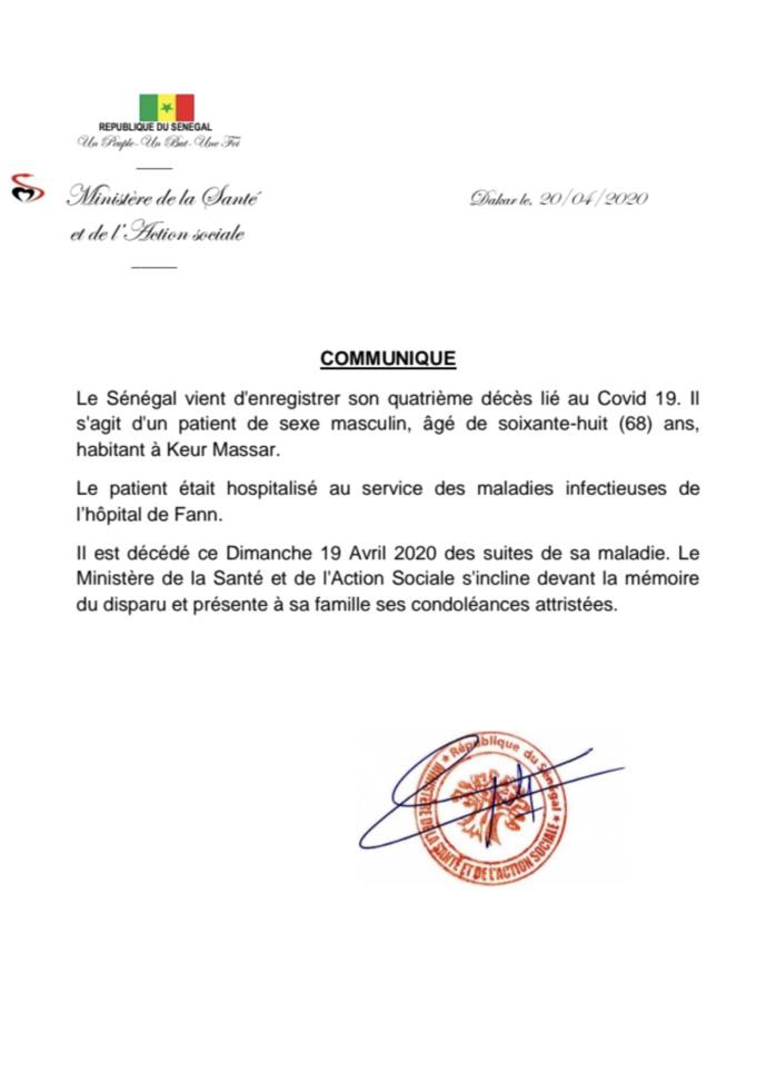COVID-19 : Le Sénégal vient d'enregistrer un quatrième décès.