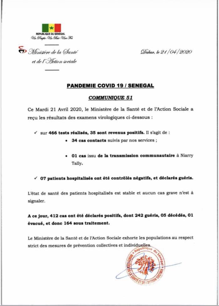Institut Pasteur : 35 nouveaux cas testés positifs au coronavirus, 7 nouveaux guéris.