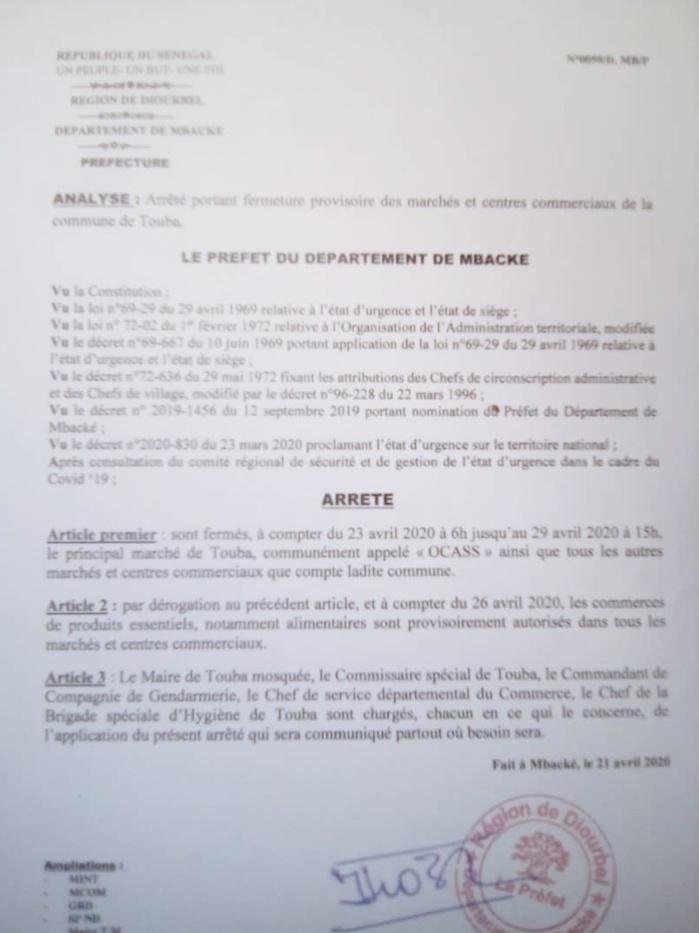 TOUBA : Voici l'arrêté du préfet Makhtar Diop portant fermeture du marché Ocass. (DOCUMENT)