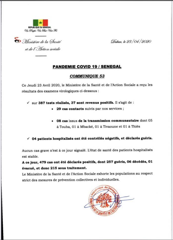 Institut Pasteur : 37 nouveaux cas testés positifs au coronavirus, 4 nouveaux guéris.