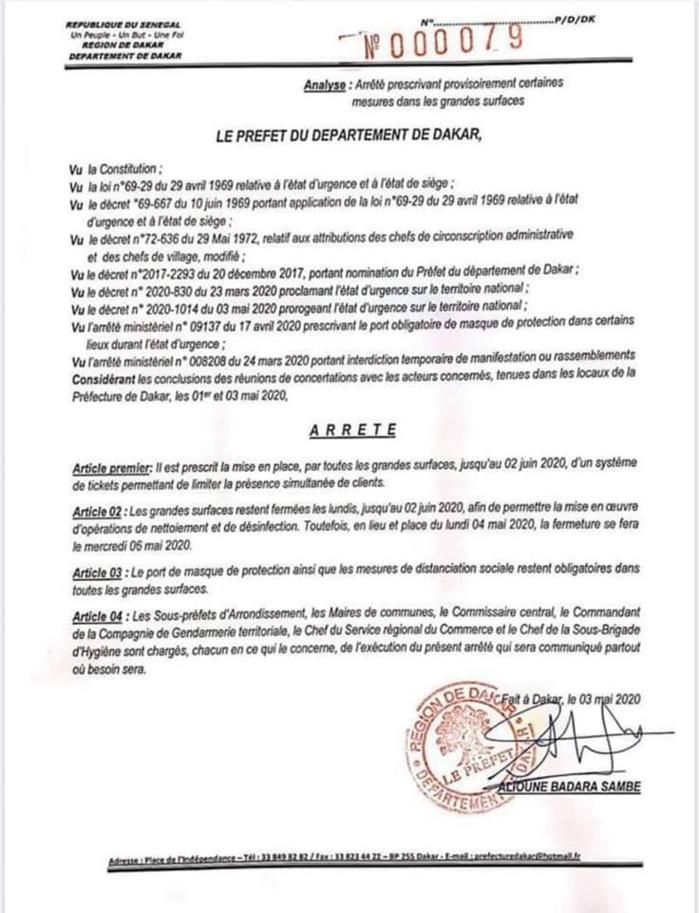 DAKAR : Arrêté préfectoral prescrivant provisoirement certaines mesures dans les grandes surfaces. (DOCUMENT)
