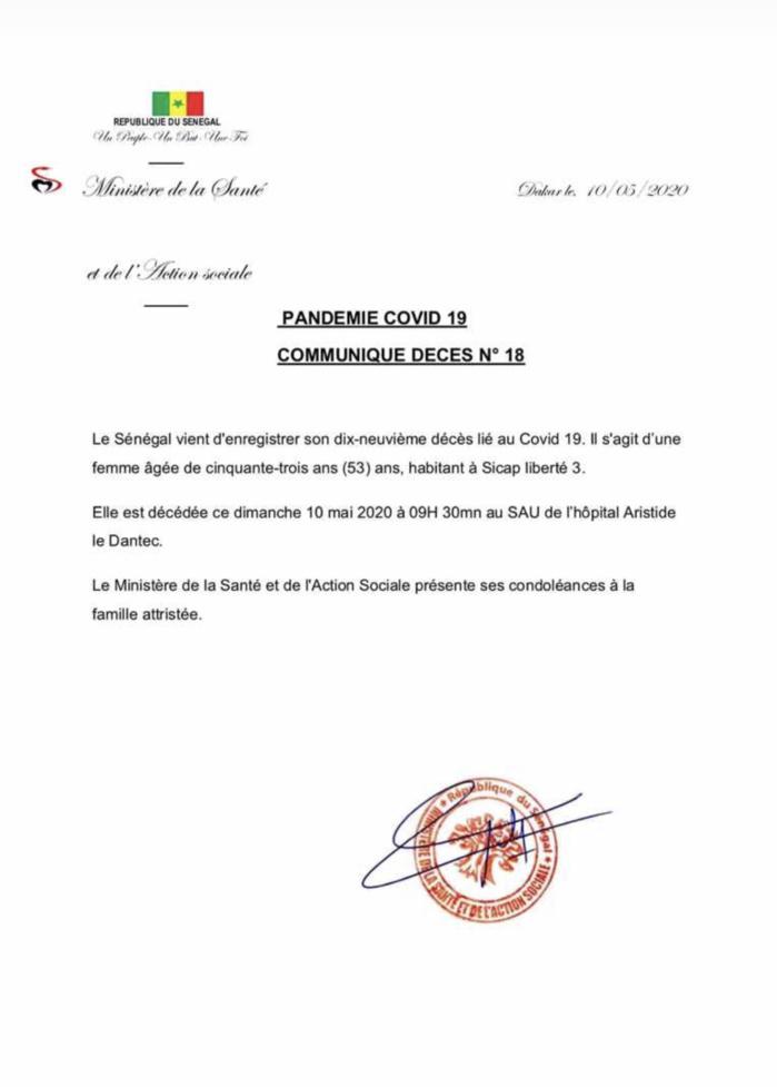 URGENT : Le Sénégal enregistre son 19e décès lié au Covid-19.