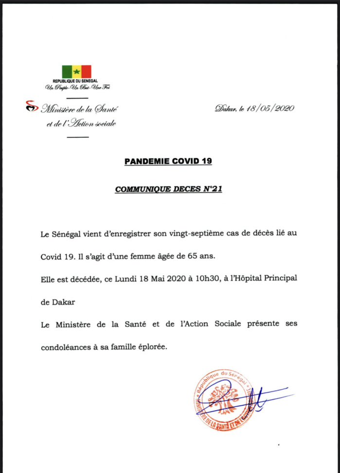 URGENT : Le Sénégal enregistre son 27e décès lié à la Covid-19.