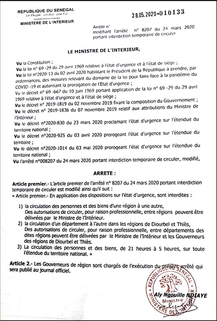 COVID-19 / Circulation des personnes et des biens : Les nouvelles mesures prises par le ministère de l'intérieur. (DOCUMENT)