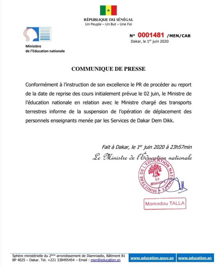 Report de la reprise des cours : Suspension du transport des Enseignants. (DOCUMENT)