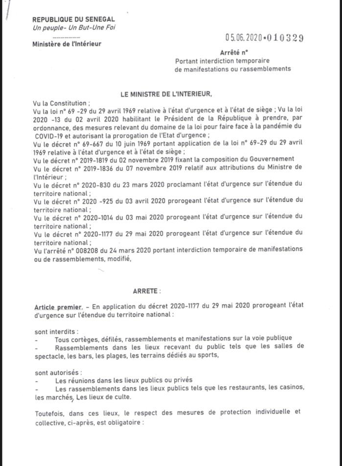 SÉNÉGAL / Assouplissement des mesures - Interdiction de rassemblements : Les arrêtés du ministre de l'intérieur . (DOCUMENT)
