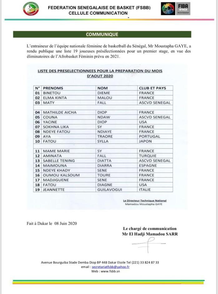 Liste de Moustapha Gaye : Les Lionnes sans Astou Traoré et Léna Niang, mais avec Aya Traoré pour un stage préparatoire.