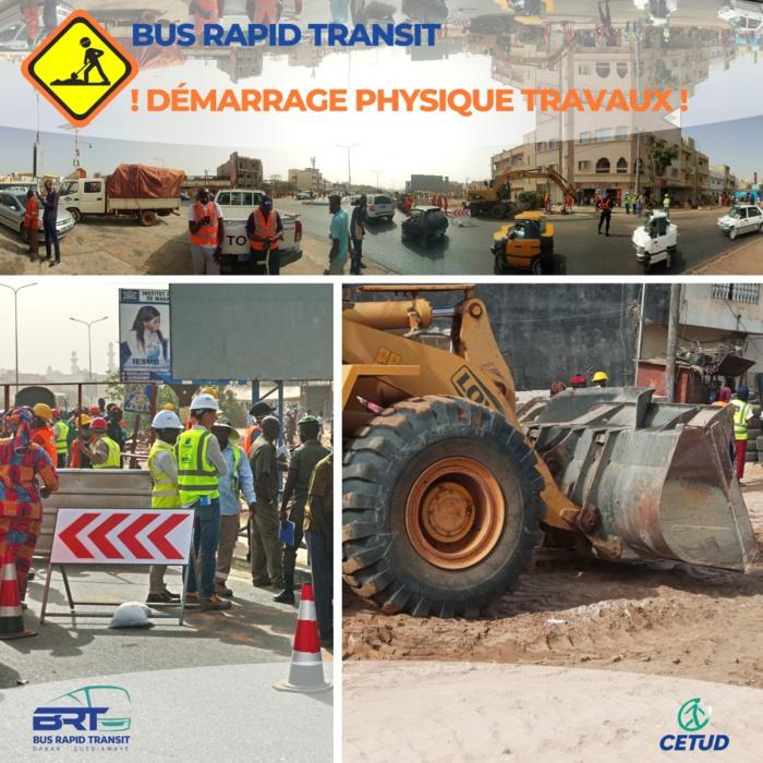 Avancement physique des travaux du BRT à Guédiawaye sur la section 1 : « grande mosquee - croisement bethio thioune »