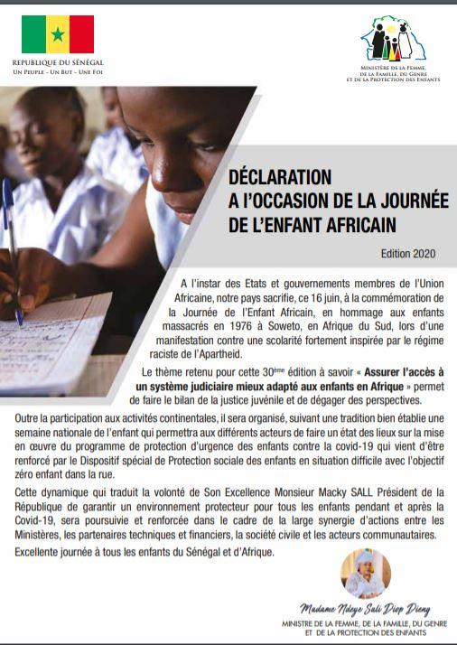 Déclaration a l'occasion de la journée de l'enfant africain (Mme Ndeye Saly Diop Dieng)