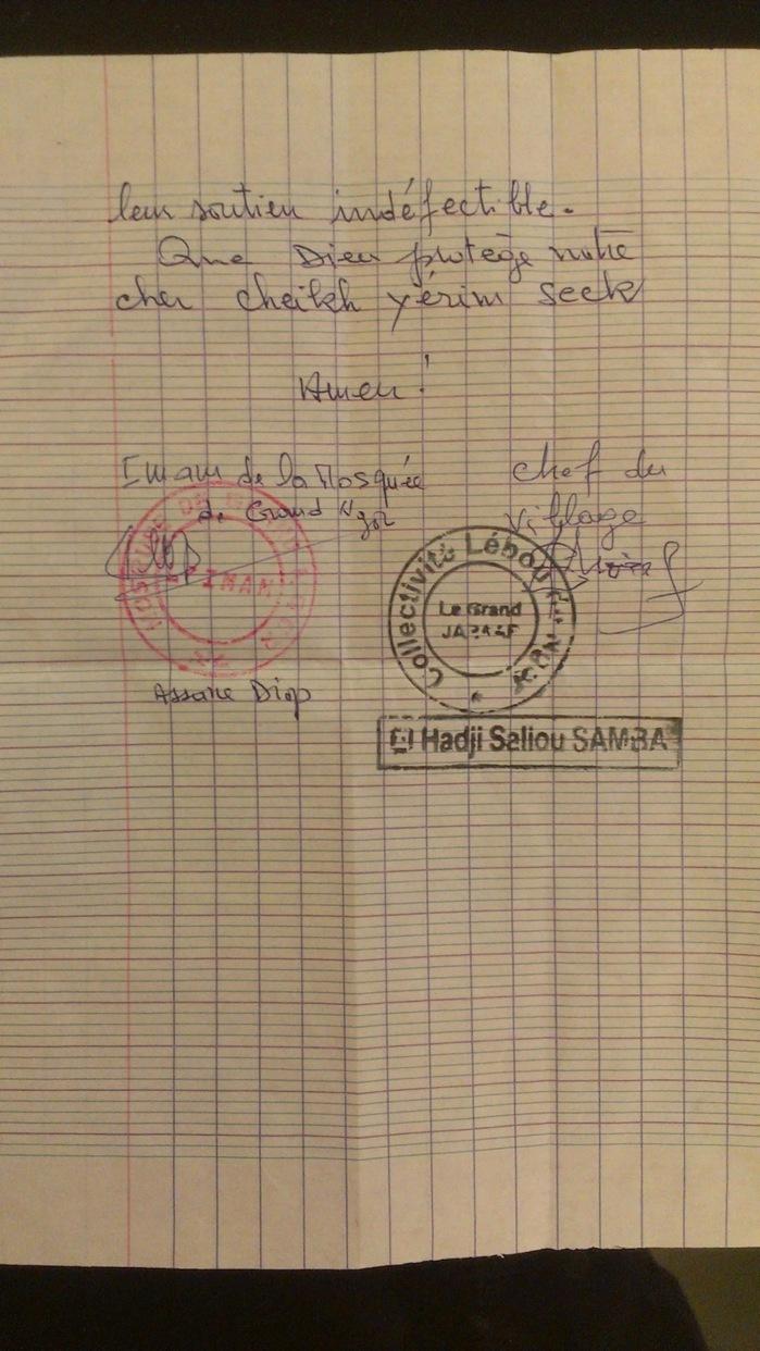 Affaire Cheikh Yérim Seck : voici la lettre de soutien émanant du chef de village, de l'Imam et des habitants de Ngor.