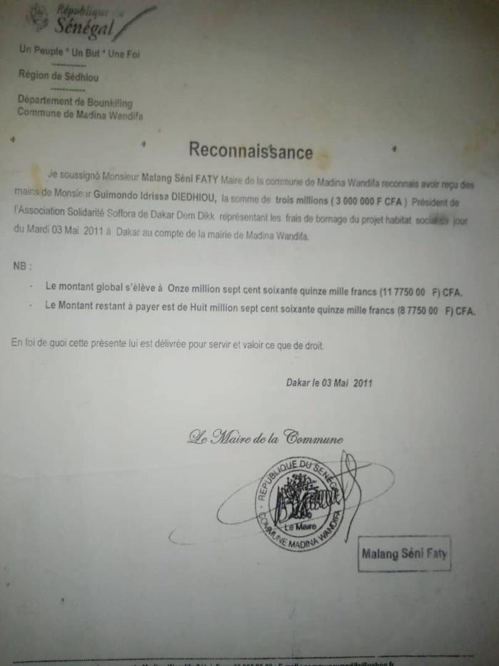 Foncier : Cette lettre de décharge contre la remise d'argent qui accable le maire de Madina Wandifa