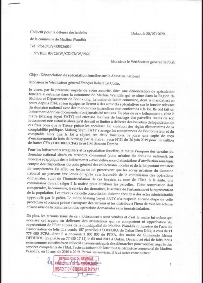 Sur demande d'un Collectif : L'Ige saisie d'une dénonciation de spéculation foncière dans la Commune de Médina Wandifa.