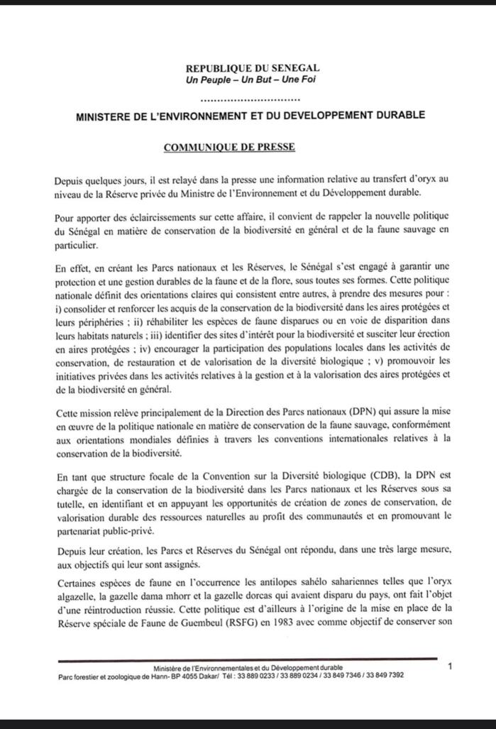Transfert d'oryx à la réserve du ministre de l'environnement et du développement durable : Les éclaircissements de Abdou Karim Sall. (DOCUMENT)