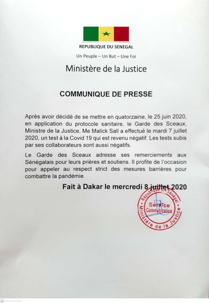 COVID-19 : Le ministre de la Justice sort de sa quatorzaine après 2 tests négatifs. (DOCUMENT)