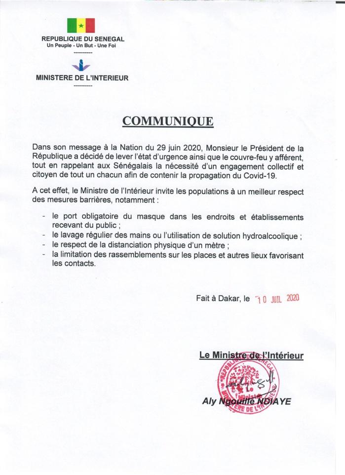 COVID-19 au Sénégal : Le ministère de l'intérieur insiste sur le respect des mesures barrières. (DOCUMENT)
