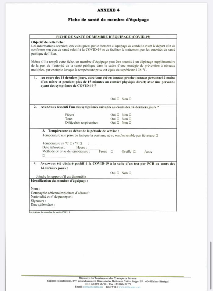 AÉROPORT : Les conditions sanitaires pour le transport aérien des passagers à destination du Sénégal. (DOCUMENTS)