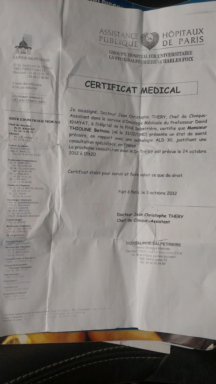 voici le certificat médical de cheikh Bethio Thioune.