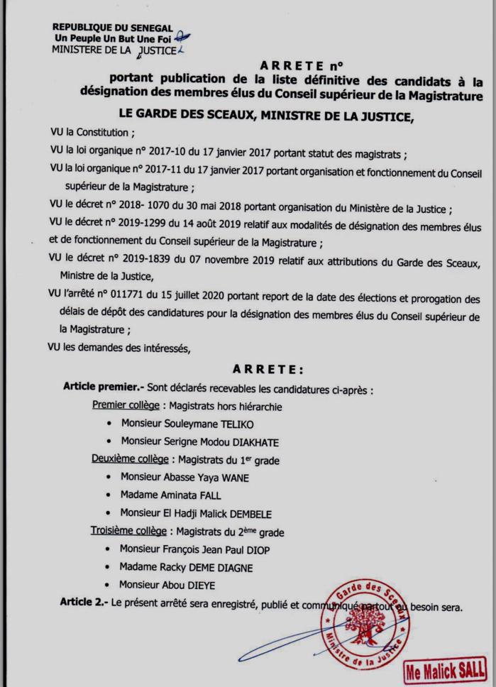 Justice : Tout ce qu'il faut savoir sur l'élection des membres élus du Conseil supérieur de la Magistrature prévue ce mardi