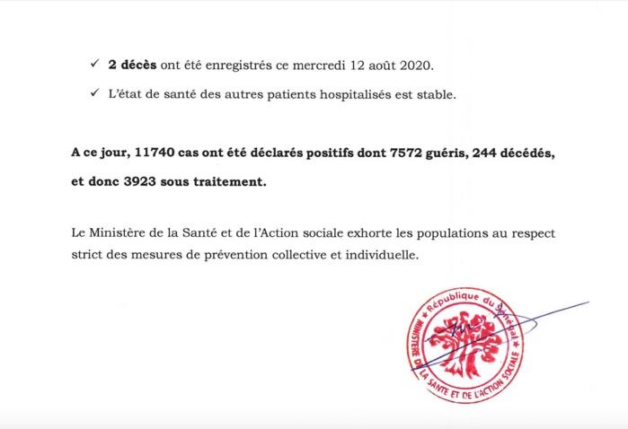 SÉNÉGAL : 153 nouveaux cas testés positifs au coronavirus, 49 nouveaux guéris, 2 nouveaux décès et 51 cas graves en réanimation.