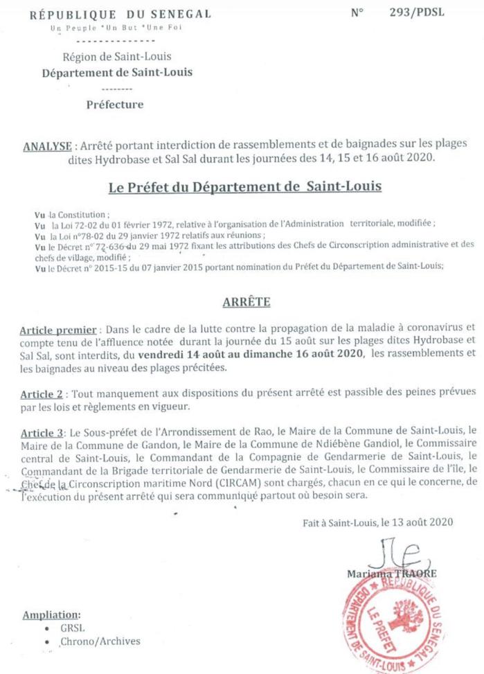 Saint-Louis : Interdiction de rassemblement et de baignade sur les plages Hydrobase et Sal-Sal.