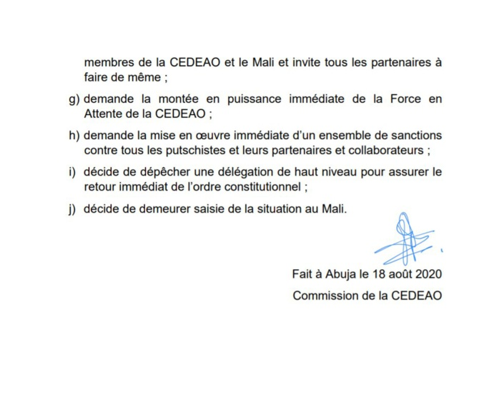 MALI : La CEDEAO condamne, sanctionne et menace... (DOCUMENT)