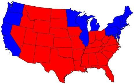 Les Etats-Unis, en «Rouge» et «Bleu»