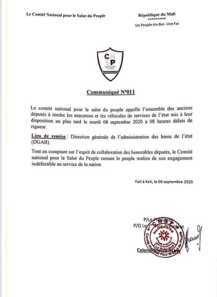 Mali : Le CNSP appelle les désormais ex-ministres et députés à rendre les voitures de fonction.