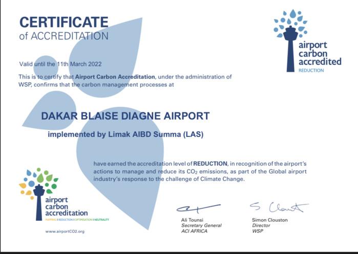 Diass : L'aéroport Dakar Blaise Diagne réduit ses émissions de carbone et décroche son certificat Airport Carbon Accreditation niveau 2.