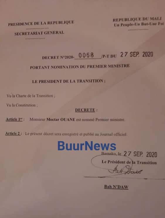 Mali: l'ancien ministre des Affaires étrangères Moctar Ouane nommé Premier ministre de la Transition (Officiel)