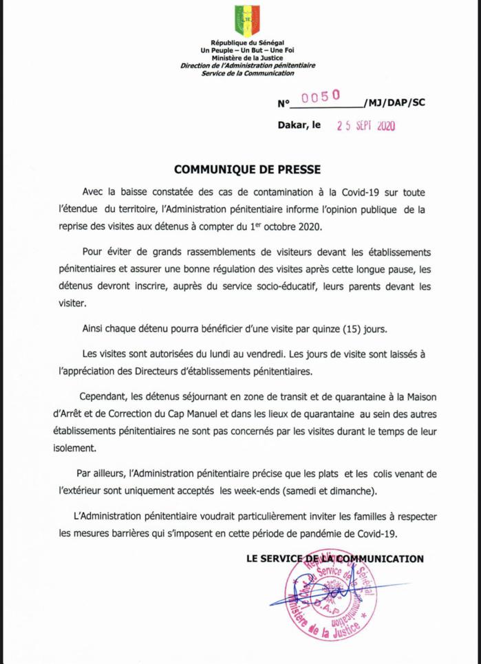 Prisons du Sénégal : L'Administration pénitentiaire autorise la reprise des visites aux détenus à partir du 1er Octobre 2020. (DOCUMENT)