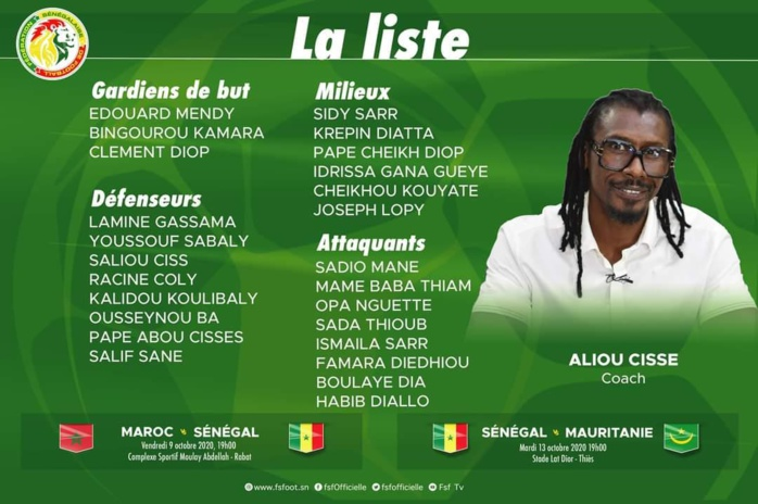 Liste de Aliou Cissé : Les Lions avec Boulaye Dia, Pape Cheikh Diop, Mame Baba Thiam et Opa Nguette de retour.