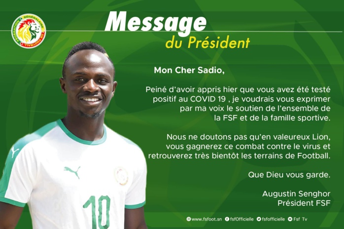 Covid-19 : Le message de soutien de Me Augustin Senghor à Sadio Mané.
